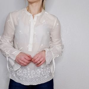 J. Crew White Floral Popover Peasant Blouse Top